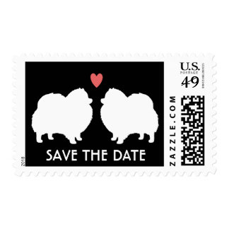 White Pomeranian Silhouettes Wedding Save the Date Postage Stamp