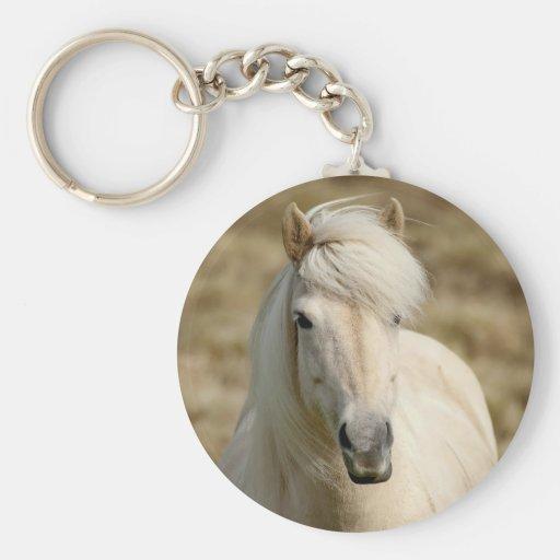 White Pony Basic Round Button Keychain