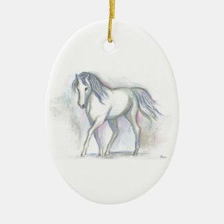 White Pony Ceramic Ornament