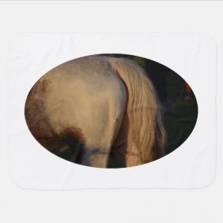 white pony flank and tail from side horse equine baby blanket