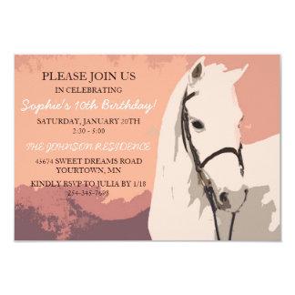 White Pony Horse Pattern Tenth Birthday 3.5x5 Paper Invitation Card