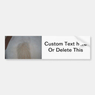 white pony tail straight on equine horse design bumper sticker
