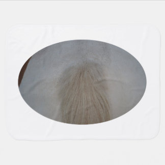white pony tail straight on equine horse design baby blankets