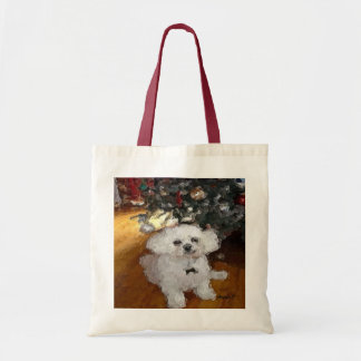 White Pooch Digital Modern Painting Budget Tote