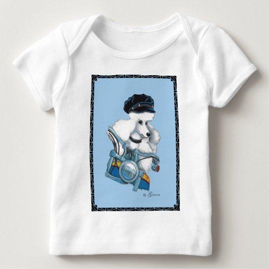 White Poodle Biker Chick Art Print Baby T-Shirt