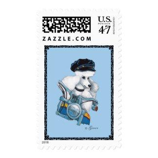 White Poodle Biker Chick Art Print Postage Stamp