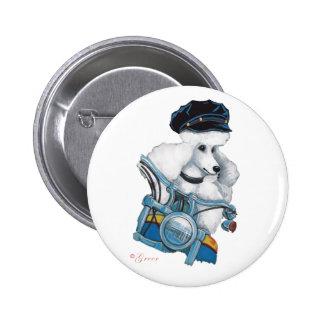White Poodle Biker Chick Button