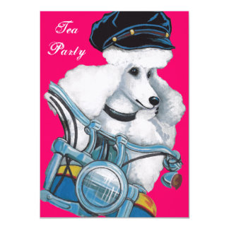 White Poodle Biker Chick Card