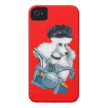 White Poodle Biker Chick Case-Mate iPhone 4 Cases