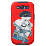 White Poodle Biker Chick Galaxy SIII Case