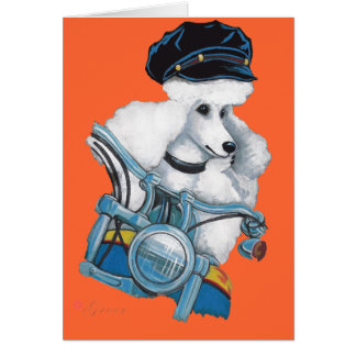 White Poodle Biker Chick in Color Greeting Card