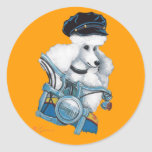 White Poodle Biker Chick in Color Stickers