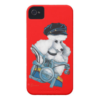 White Poodle Biker Chick iPhone 4 Case