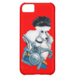 White Poodle Biker Chick iPhone 5C Cases