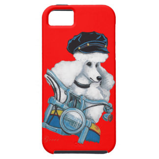 White Poodle Biker Chick iPhone SE/5/5s Case