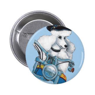 White Poodle Biker Chick Pinback Button