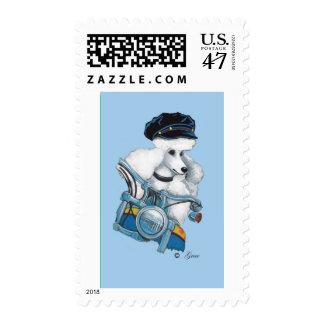 White Poodle Biker Chick Postage