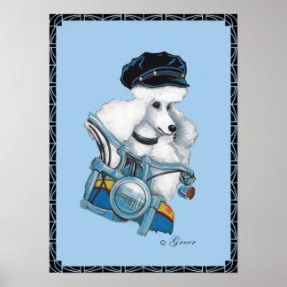 White Poodle Biker Chick Poster Print