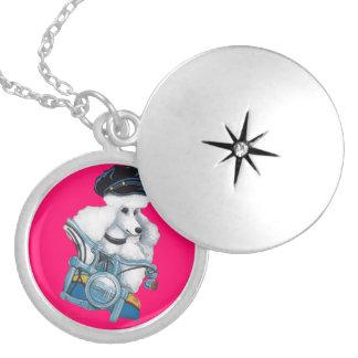 White Poodle Biker Chick Round Locket Necklace