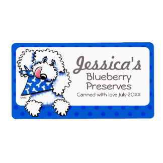 White Poodle Blue Dots Jar Canning Product Labels