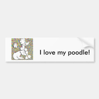 White Poodle Bumper Sticker