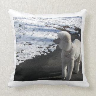 White Poodle by Snow Throw Pillow