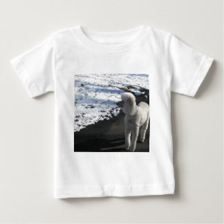 White Poodle by the Snow Baby T-Shirt