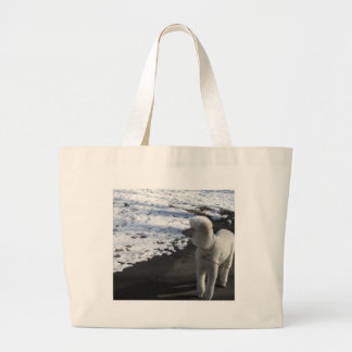 White Poodle by the Snow Large Tote Bag