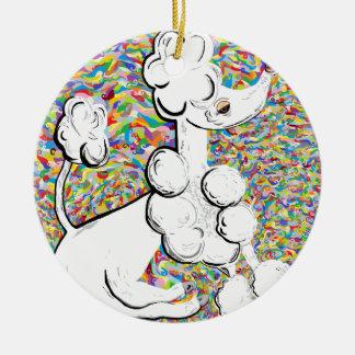 White Poodle Ceramic Ornament