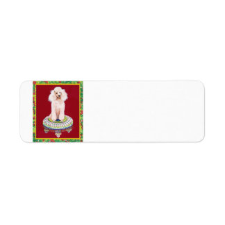 White Poodle Christmas Labels Tags Stickers
