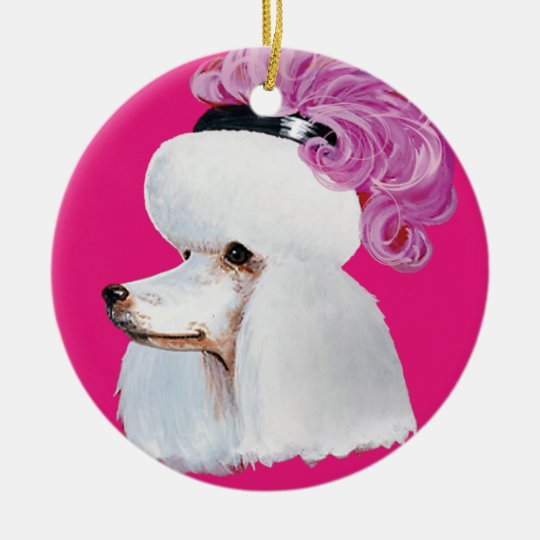 White Poodle Christmas Ornament Gift