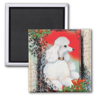 White Poodle Christmas Vintage Style Print Magnet
