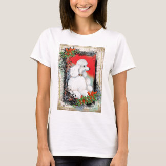 White Poodle Christmas Vintage Style Ringer Tee