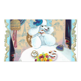 White Poodle Cupcake Tea Party Business Cards