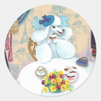 White Poodle Cupcake Tea Party Classic Round Sticker