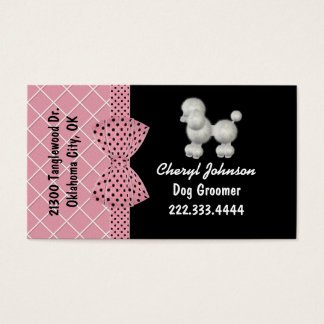 White Poodle Dog Groomer Business Card