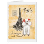 White Poodle Eiffel Tower Vintage Style Print Greeting Cards
