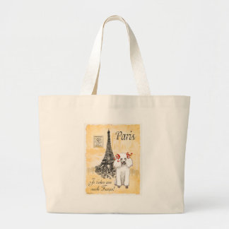 White Poodle Eiffel Tower Vintage Style Print Large Tote Bag