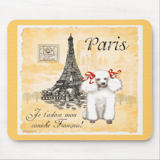 White Poodle Eiffel Tower Vintage Style Print Mousepads