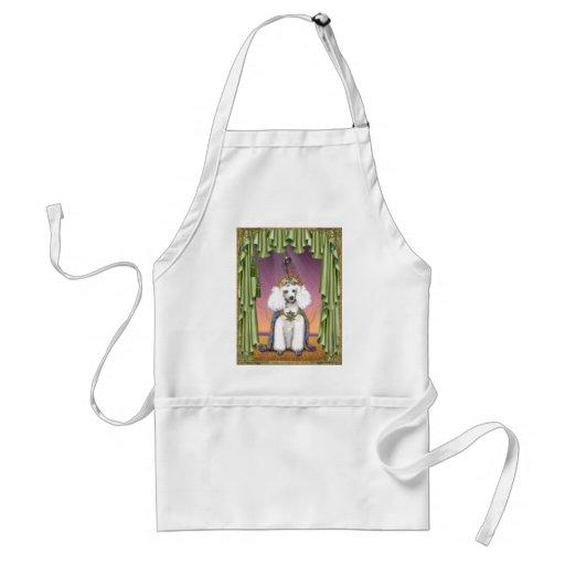 White Poodle Far East Fairy Tale Art Adult Apron