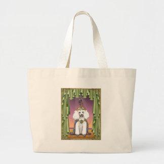 White Poodle Far East Fairy Tale Art Tote Bags