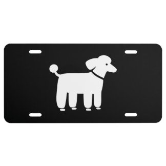 White Poodle Graphic License Plate