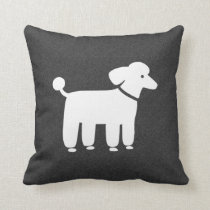 White Poodle Graphic Throw Pillow