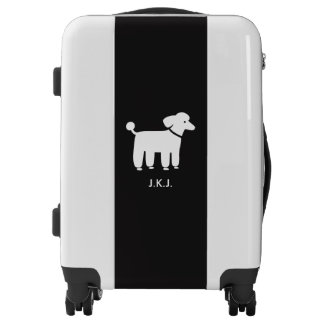 White Poodle Graphic with Custom Text Luggage