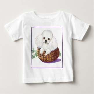White Poodle in Basket Art Print Infant Tee Shirt