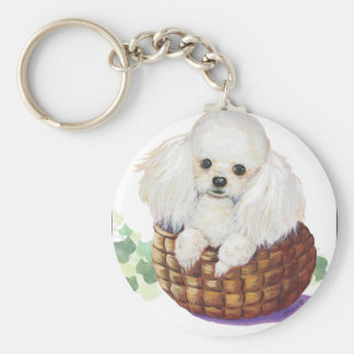 White Poodle in Basket Art Print Keychain