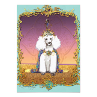 White Poodle in Costume Card