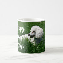 White Poodle in Green Grass Puppy Dog Days Mug