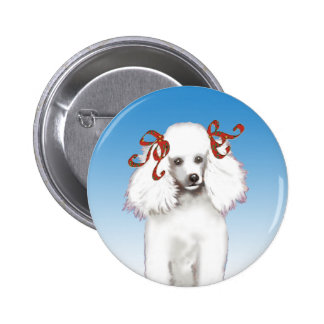 White Poodle in Red Bows button pin