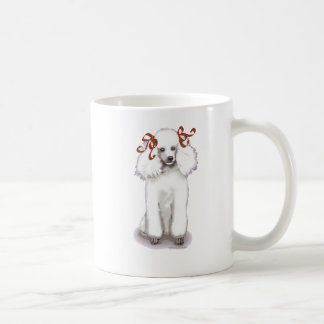 White Poodle in Red Bows Portrait Mug Cup